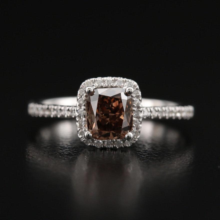18K 1.17 CTW Diamond Halo Ring with GIA Report