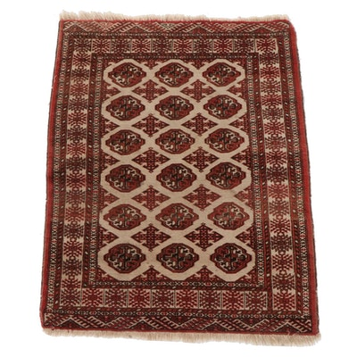 3'4 x 4'9 Hand-Knotted Russian Bokhara Wool Area Rug