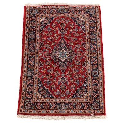 3'0 x 5'7 Hand-Knotted Persian Kashan Wool Area Rug