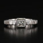 Contemporary Floating 14K 1.32 CTW Princess Cut Diamond Ring