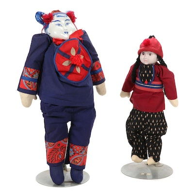Chinese  Ceremonial and Other Folk Art Dolls with Porcelain Heads
