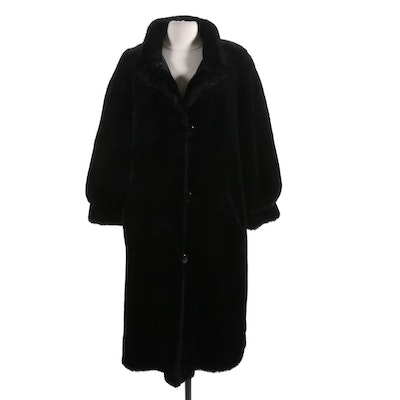 J. Percy for Marvin Richards Faux Fur Coat with Tapered Cuffs