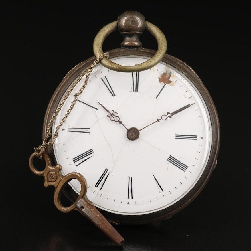 Antique 800 Silver Key Wind Open Face Pocket Watch