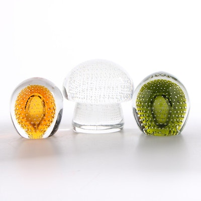 Amber and Other Controlled Bubble Art Glass Paperweights, Late 20th Century