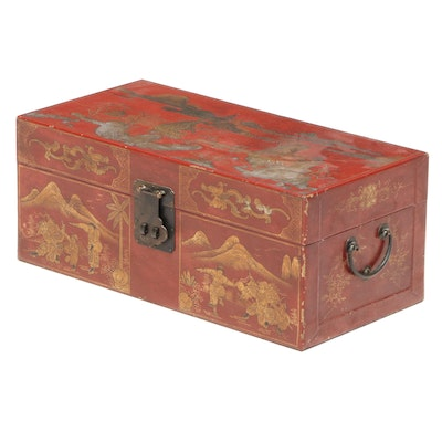 Chinese Lacquered and Gilt Decorated Leather Box, Mid-20th Century
