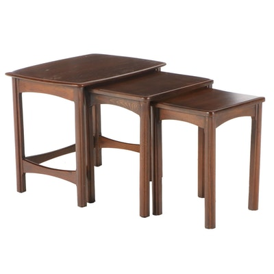Set of Three Mid Century Modern Walnut Nesting Tables
