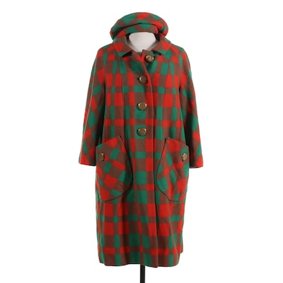 Utah Tailoring Mills Custom Made Wool Plaid Coat with Matching Hat