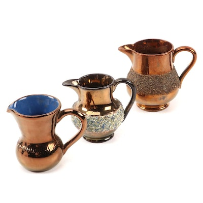 Creigiau Wales and English Other Grit-Banded Copper Luster Creamers
