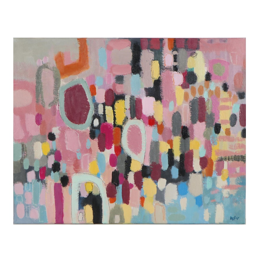 Lee Hafer Abstract Mixed Media Painting, 21st Century