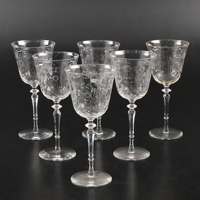 Leaf and Flower Etched Crystal Wine Glasses, Early to Mid 20th Century
