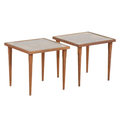 Pair of Mid Century Modern Glass Top Side Tables, 1960s