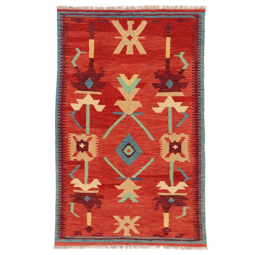 3'8 x 5'10 Handwoven Afghan Kilim Area Rug
