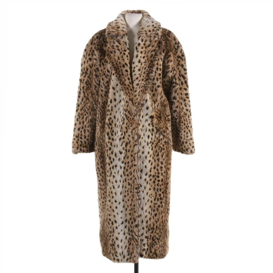 Shaytoon by OCU Faux Fur Leopard Print Coat