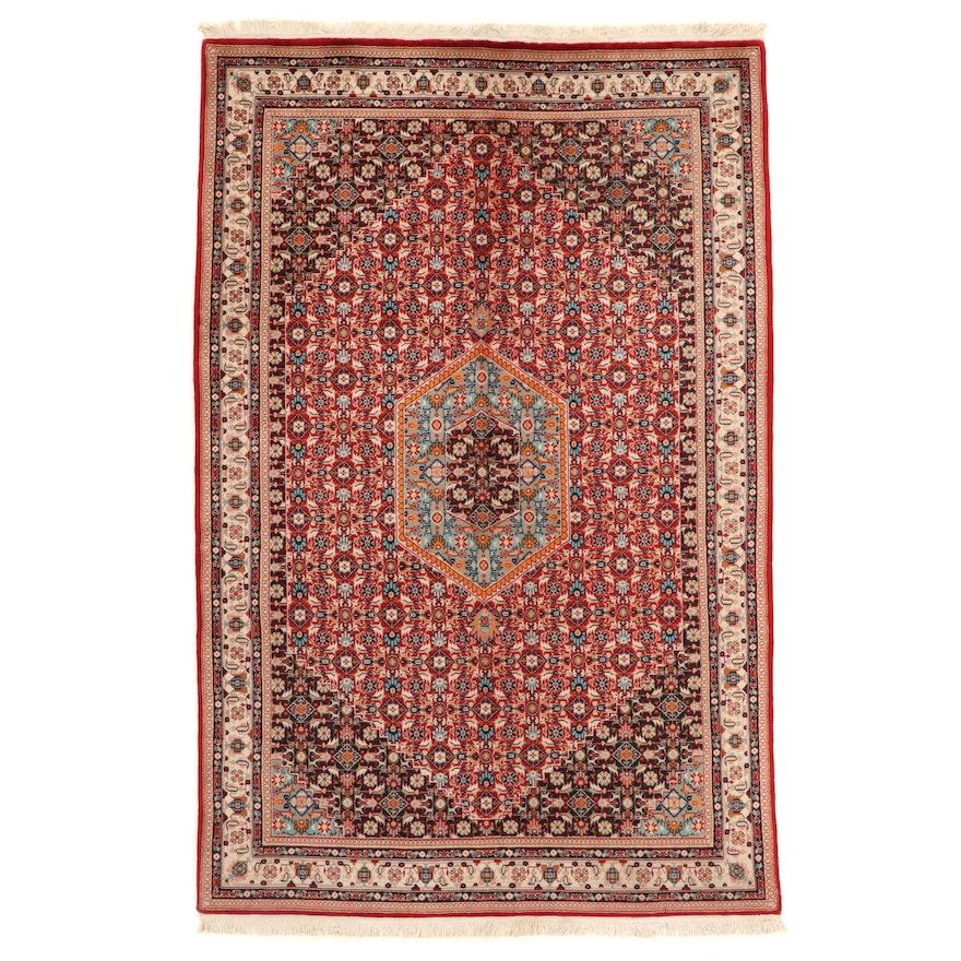 5'8 x 9'1 Hand-Knotted Indo-Persian Bijar Herati Area Rug