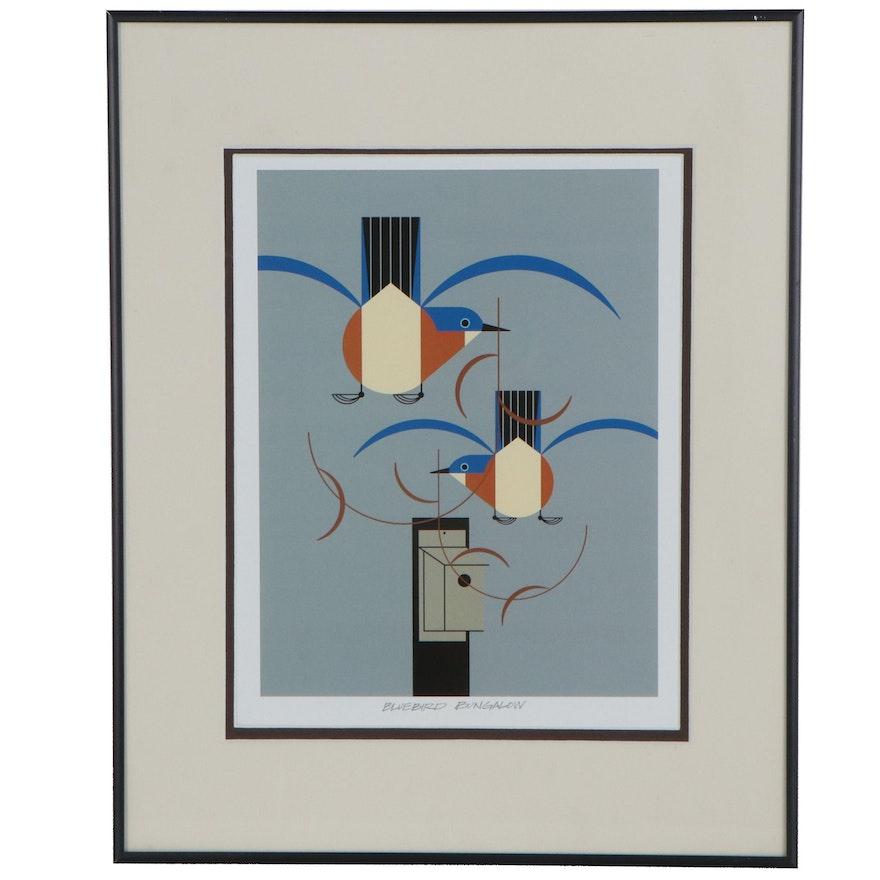 "Offset Lithograph after Charley Harper ""Bluebird Bungalow"""