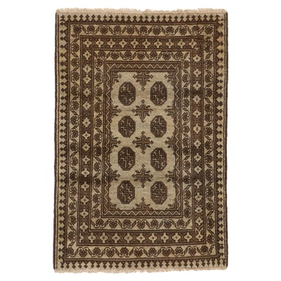 2'9 x 4'1 Hand-Knotted Afghan Turkmen Accent Rug