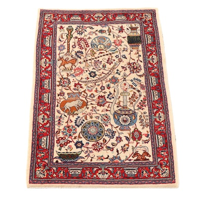 3'7 x 5'6 Hand-Knotted Persian Qashqai Wool Area Rug