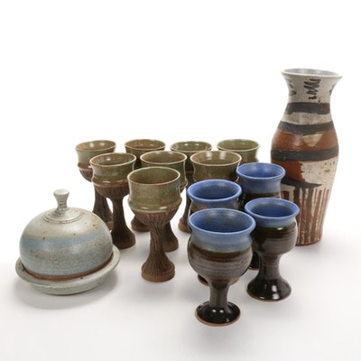 Wheel Thrown Glazed Pottery Goblets with Vase and Butter Dish, Late 20th Century