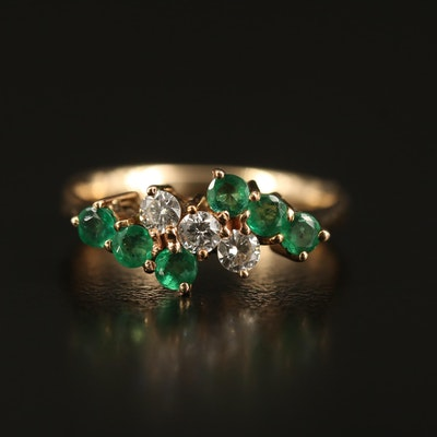 14K Diamond and Emerald Tapered Band