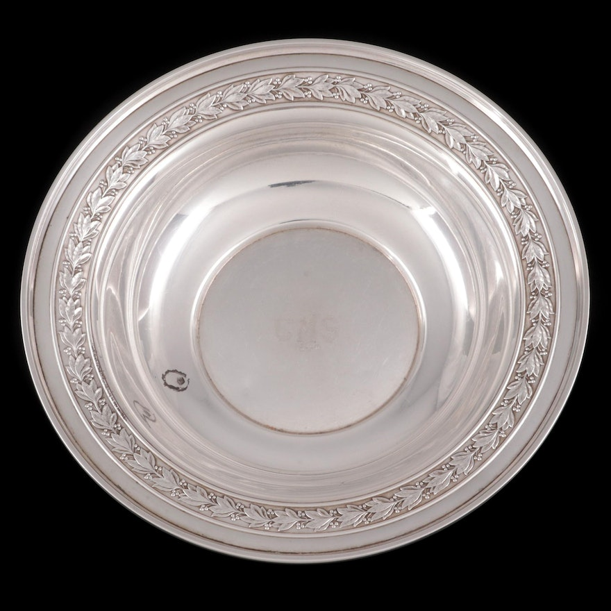 Wallace Sterling Silver Holly Rim Bowl, Mid-20th Century