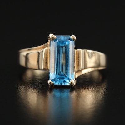 10K Swiss Blue Topaz Ring with Beveled Edge Detail