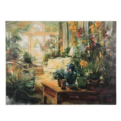"""Stephen Shortridge Embellished Giclée """"Garden Room"""""""