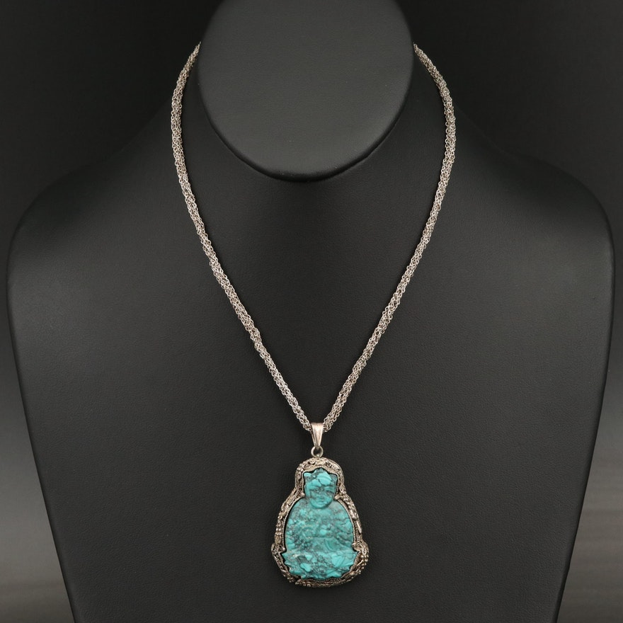 Sterling Turquoise Filigree Pendant Necklace