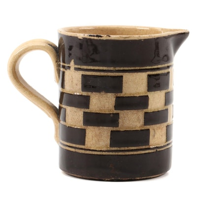 Checkered Mocha Ware Earthenware Creamer, Mid-19th Century