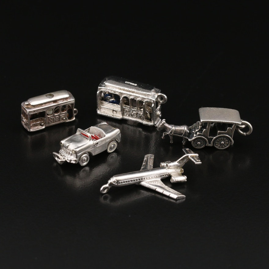 Vintage Transportation Themed Sterling Charms