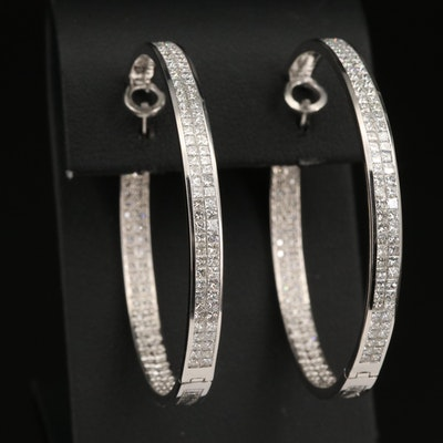 18K 7.98 CTW Princess and Round Brilliant Cut Diamond Inside-Out Hoop Earrings