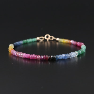 Emerald, Sapphire, Ruby and Gemstone Rainbow Bracelet with 14K Clasp