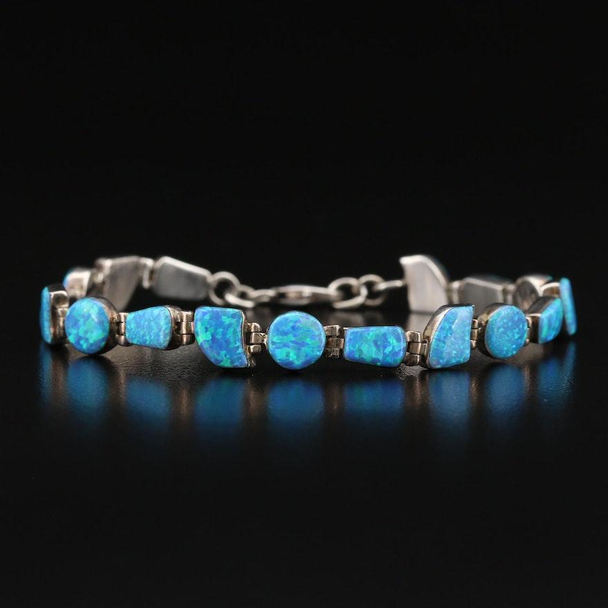 Sterling Opal Link Bracelet