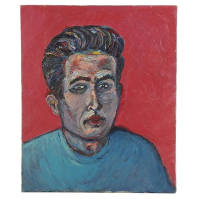 Fauvist Style Oil Painting of Man in Blue Shirt, circa 2000