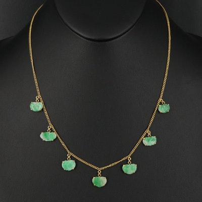18K Carved Jadeite Fringe Necklace