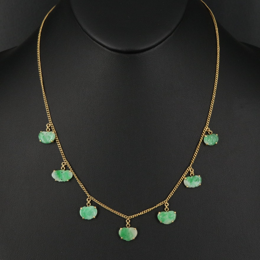 18K Carved Jadeite Fringe Necklace