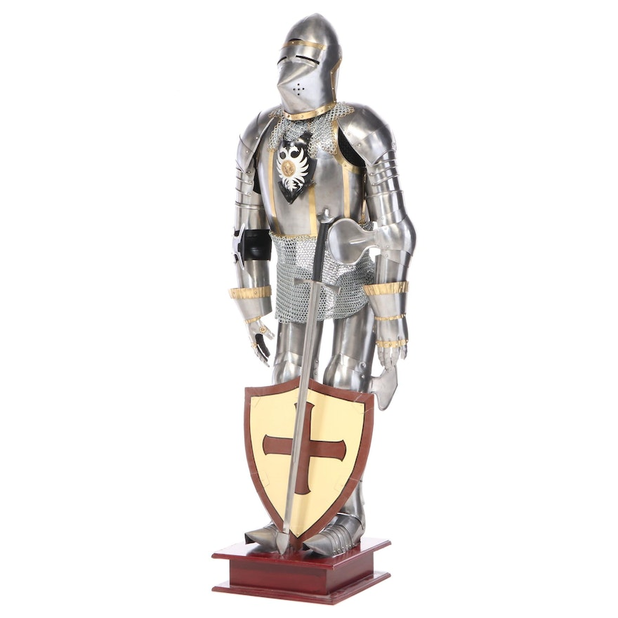 Steel and Brass Suit of Armor with Sword and Shield