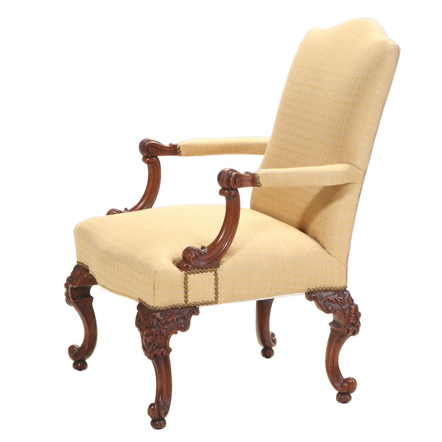 George III Style Mahogany Gainsborough Chair, Early to Mid 20th Century