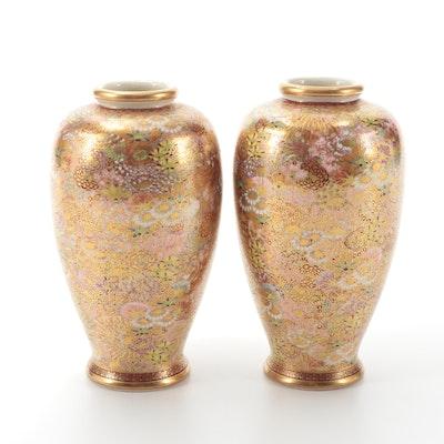 Japanese Eizan Satsuma Porcelain Vases, Late Meiji Period
