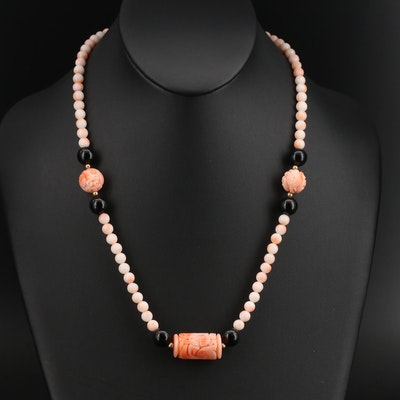 Asian Inspired Carved Coral and Black Onyx Beaded Necklace with 14K Accents
