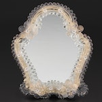 Murano Style Glass Flower Framed Tabletop Mirror, Late 20th Century