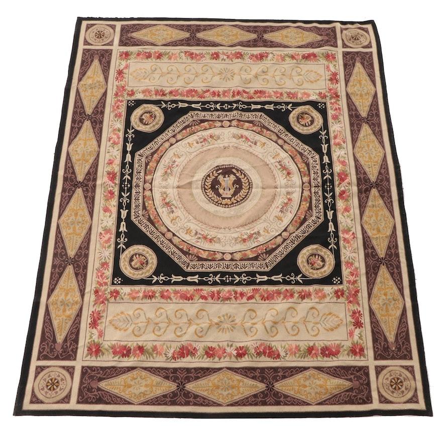 5'9 x 7'11 Handwoven European Neoclassical Style Wool Area Rug