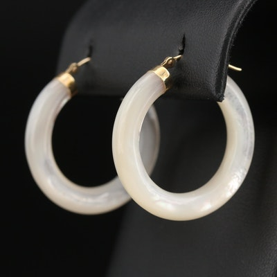 10K Mother of Pearl Hololith Hoop Earrings