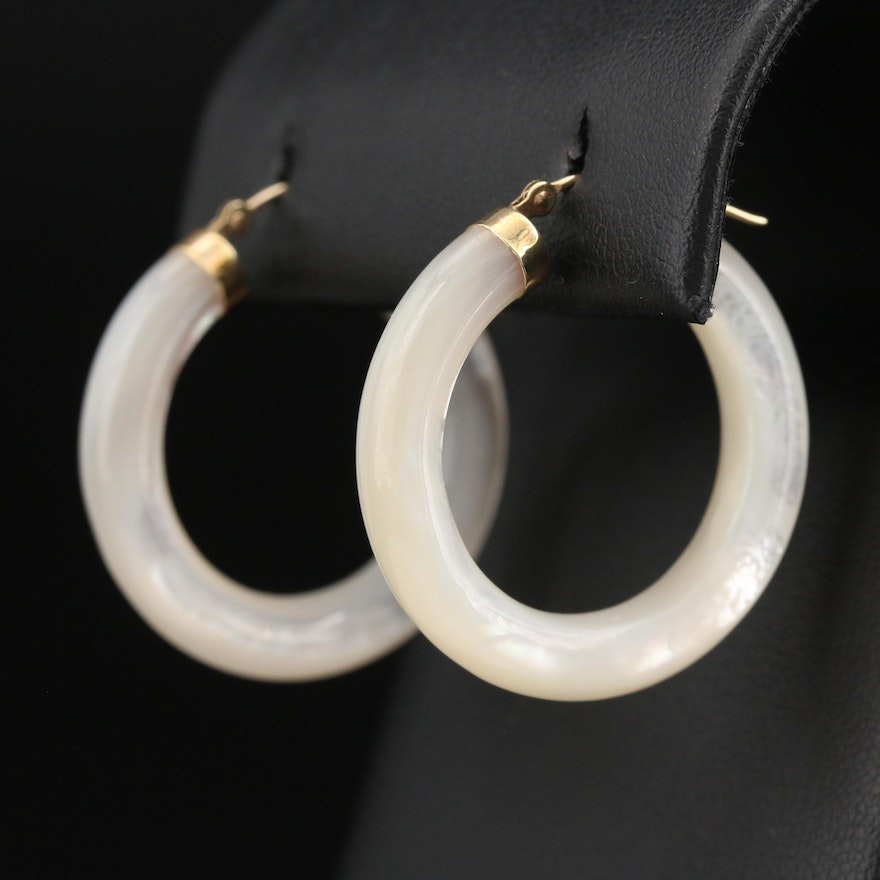 10K Mother of Pearl Hololith Hoop Earrings