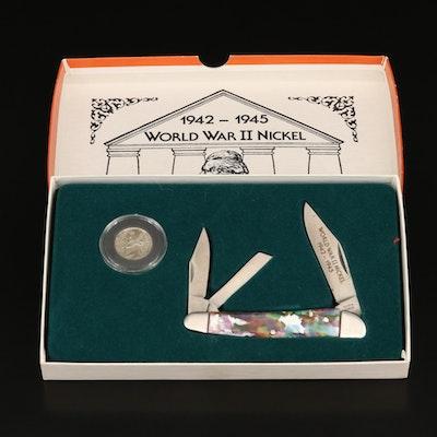 1943 WWII Silver Jefferson Nickel and Pocketknife Set