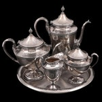 Derby Hammered Silver Plate Tea and Coffee Service on Godinger Round Tray
