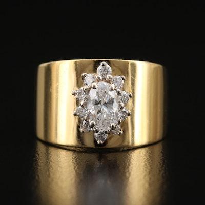 18K Diamond Cluster Ring