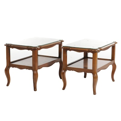 Pair of French Provincial Style Glass-Topped Wood Side Tables, Mid-20th Century