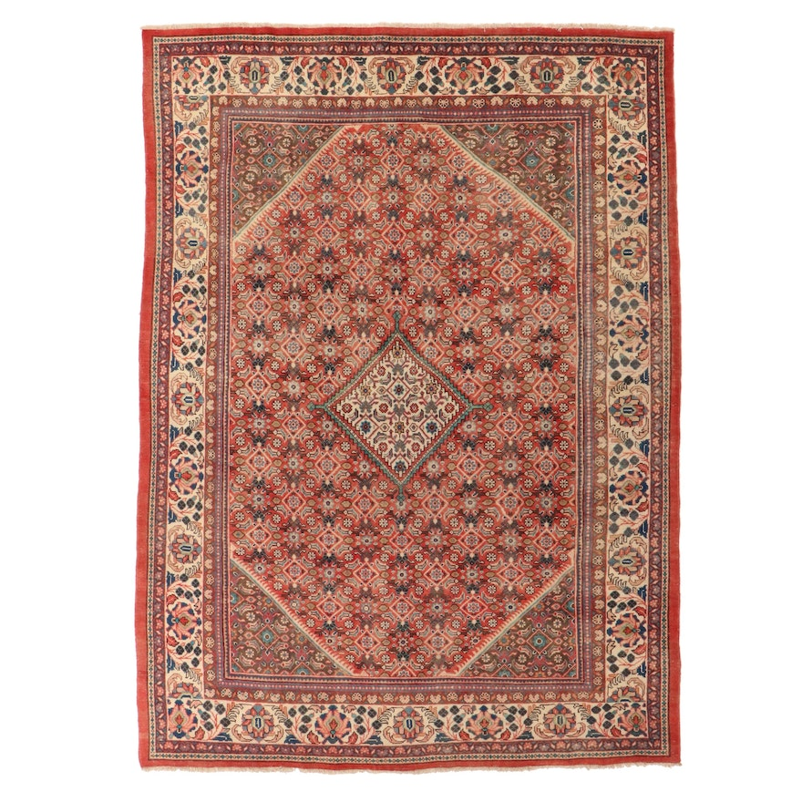 8'11 x 12'9 Hand-Knotted Persian Senneh Wool Room Sized Rug