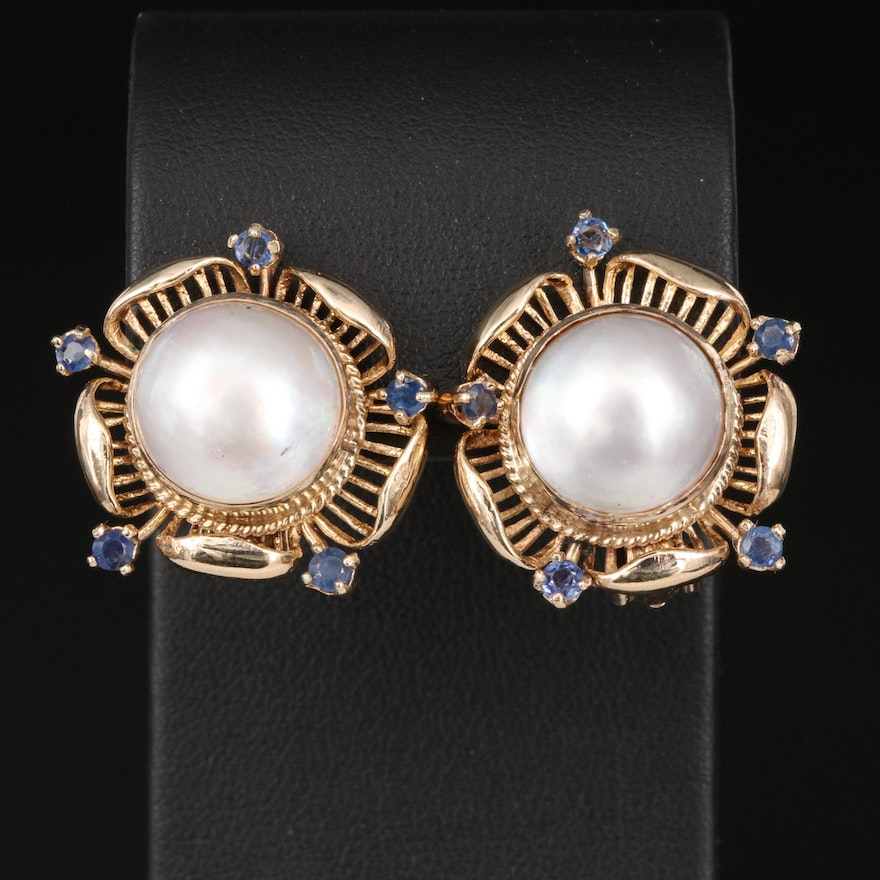 Vintage 14K Mabé Pearl and Sapphire Clip Earrings