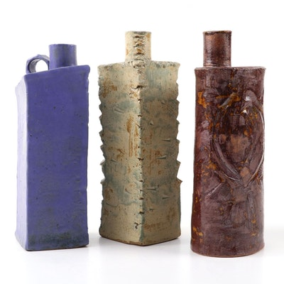 Studio Style Slab-Built Stoneware Bottle Vases